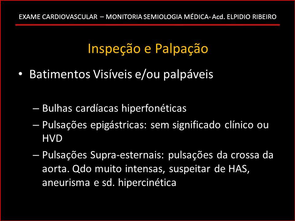 EXAME CARDIOVASCULAR – MONITORIA SEMIOLOGIA MÉDICA- Acd. ELPIDIO RIBEIRO Inspeção e Palpação Batimentos Visíveis e/ou palpáveis – Bulhas cardíacas hip