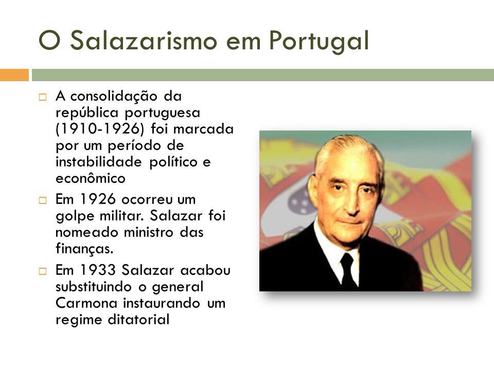 O Salazarismo em Portugal A consolidação da república portuguesa (1910-1926) foi marcada por um período de instabilidade político e econômico Em 1926 ocorreu um golpe militar.