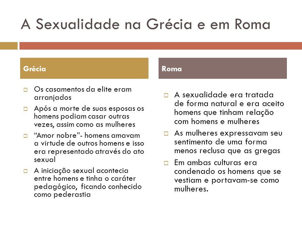 A Sexualidade na Grécia e em Roma Os casamentos da elite eram arranjados Após a morte de suas esposas os homens podiam casar outras vezes, assim como