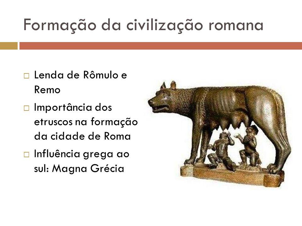 Formação da civilização romana Lenda de Rômulo e Remo Importância dos etruscos na formação da cidade de Roma Influência grega ao sul: Magna Grécia