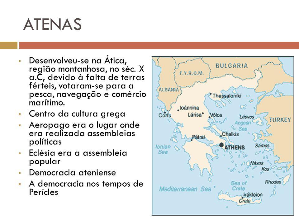 ATENAS Desenvolveu-se na Ática, região montanhosa, no séc. X a.C, devido à falta de terras férteis, votaram-se para a pesca, navegação e comércio marí