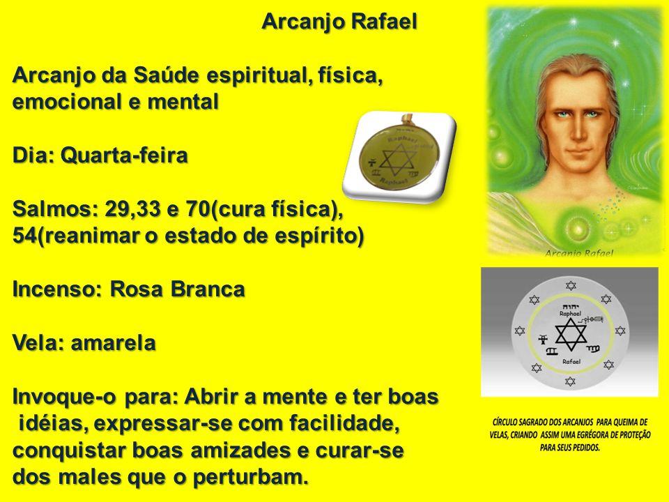 Arcanjo Rafael Arcanjo da Saúde espiritual, física, emocional e mental emocional e mental Dia: Quarta-feira Salmos: 29,33 e 70(cura física), 54(reanim