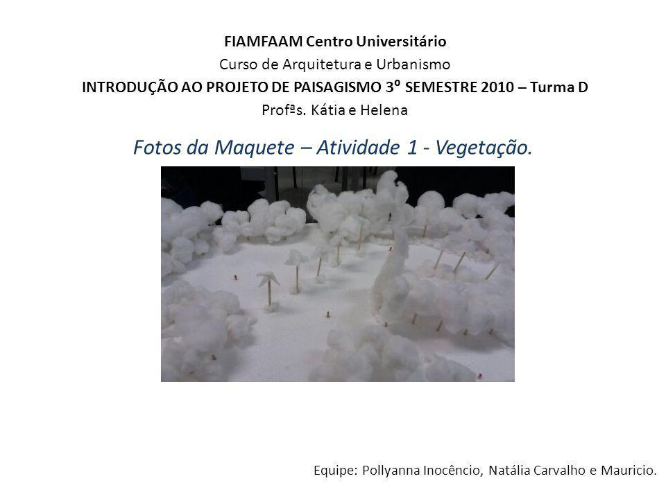 FIAMFAAM Centro Universitário Curso de Arquitetura e Urbanismo INTRODUÇÃO AO PROJETO DE PAISAGISMO 3 SEMESTRE 2010 – Turma D Profªs. Kátia e Helena Eq