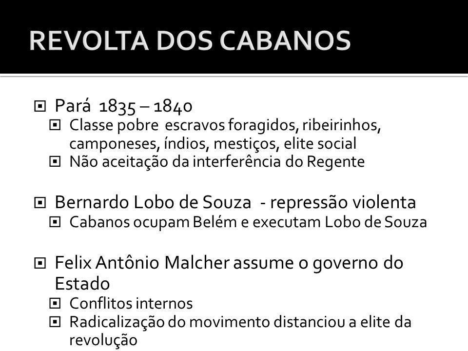 Pará 1835 – 1840 Classe pobre escravos foragidos, ribeirinhos, camponeses, índios, mestiços, elite social Não aceitação da interferência do Regente Be