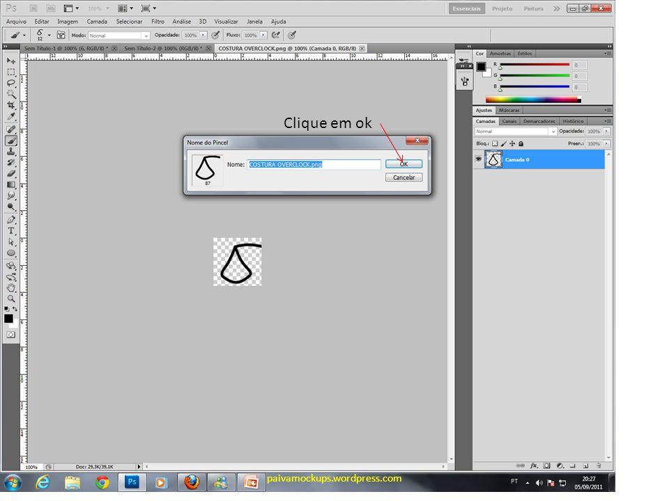 Clique na ferramenta pincel Depois aperte F5 paivamockups.wordpress.com