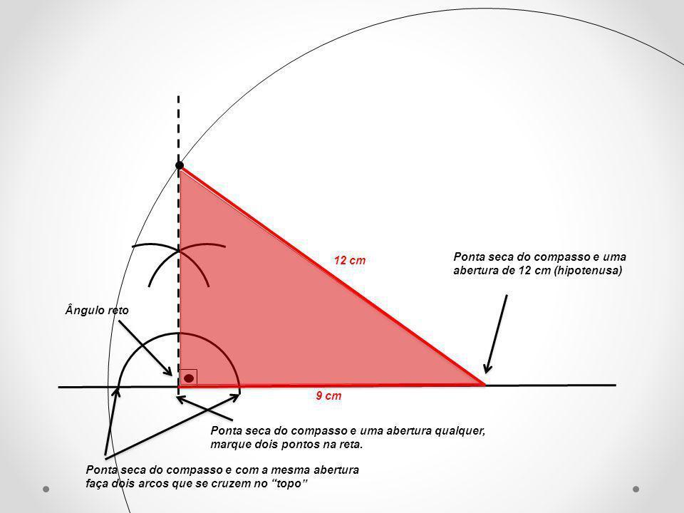 Ponta seca do compasso e uma abertura qualquer, marque dois pontos na reta. Ponta seca do compasso e com a mesma abertura faça dois arcos que se cruze