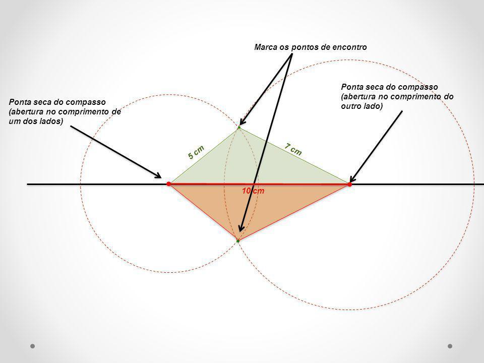 Ponta seca do compasso (abertura no comprimento de um dos lados) Ponta seca do compasso (abertura no comprimento do outro lado) Marca os pontos de enc