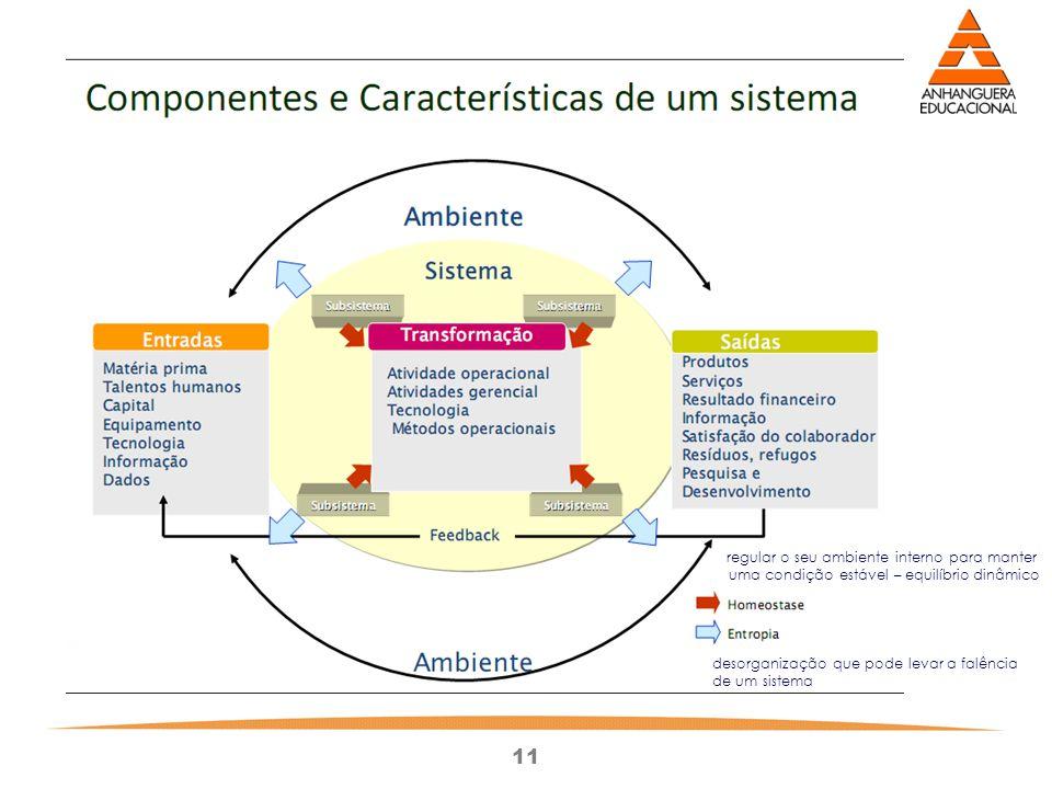 11 regular o seu ambiente interno para manter uma condição estável – equilíbrio dinâmico desorganização que pode levar a falência de um sistema