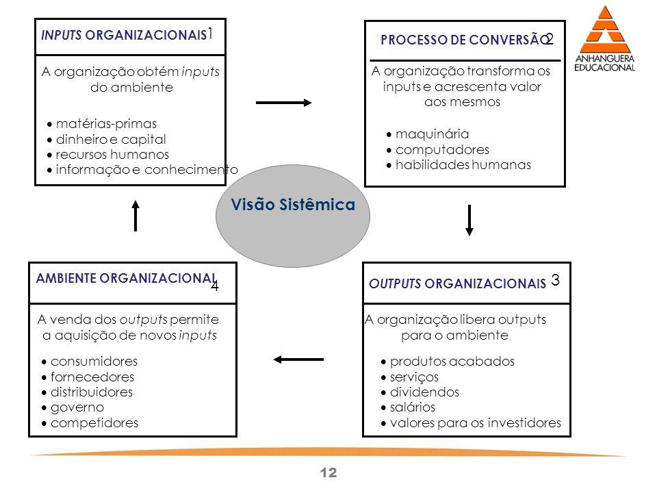 12 1 3 2 4 INPUTS ORGANIZACIONAIS PROCESSO DE CONVERSÃO AMBIENTE ORGANIZACIONAL OUTPUTS ORGANIZACIONAIS A organização obtém inputs do ambiente matéria
