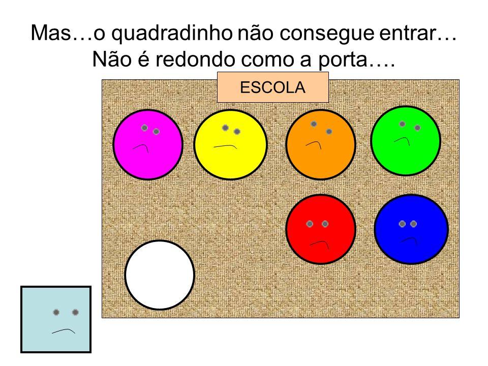 Mas…o quadradinho não consegue entrar… Não é redondo como a porta…. ESCOLA