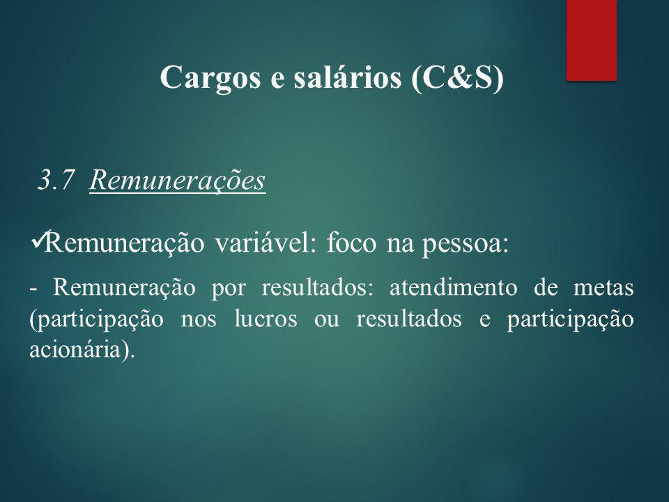 Cargos e salários (C&S) 3.7 Remunerações Remuneração variável: foco na pessoa: - Remuneração por resultados: atendimento de metas (participação nos lucros ou resultados e participação acionária).