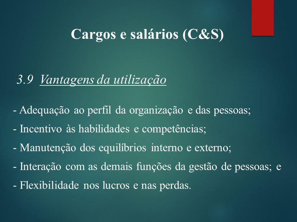 Cargos e salários (C&S) 3.9 Vantagens da utilização - Adequação ao perfil da organização e das pessoas; - Incentivo às habilidades e competências; - Manutenção dos equilíbrios interno e externo; - Interação com as demais funções da gestão de pessoas; e - Flexibilidade nos lucros e nas perdas.