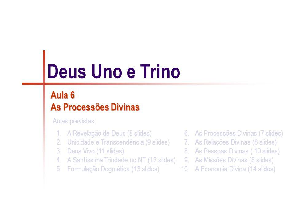 1.A Revelação de Deus (8 slides) 2.Unicidade e Transcendência (9 slides) 3.Deus Vivo (11 slides) 4.A Santíssima Trindade no NT (12 slides) 5.Formulação Dogmática (13 slides) 6.As Processões Divinas (7 slides) 7.As Relações Divinas (8 slides) 8.As Pessoas Divinas ( 10 slides) 9.As Missões Divinas (8 slides) 10.A Economia Divina (14 slides) Aulas previstas: Deus Uno e Trino Aula 6 As Processões Divinas
