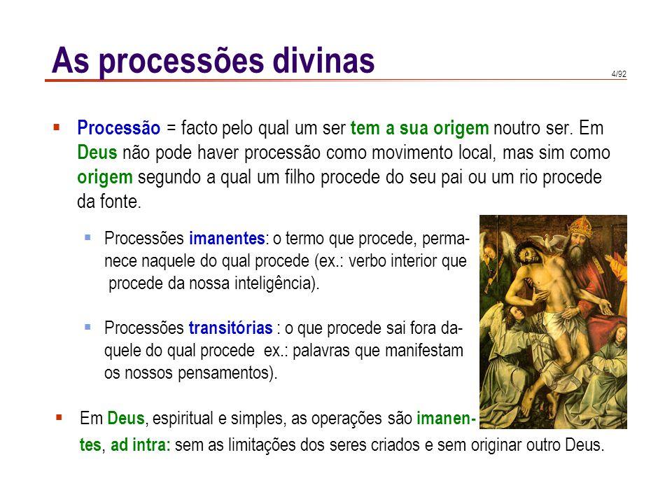 4/92 Processão = facto pelo qual um ser tem a sua origem noutro ser.