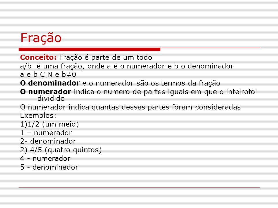 Fração Conceito: Fração é parte de um todo a/b é uma fração, onde a é o numerador e b o denominador a e b Є N e b0 O denominador e o numerador são os termos da fração O numerador indica o número de partes iguais em que o inteirofoi dividido O numerador indica quantas dessas partes foram consideradas Exemplos: 1)1/2 (um meio) 1 – numerador 2- denominador 2) 4/5 (quatro quintos) 4 - numerador 5 - denominador