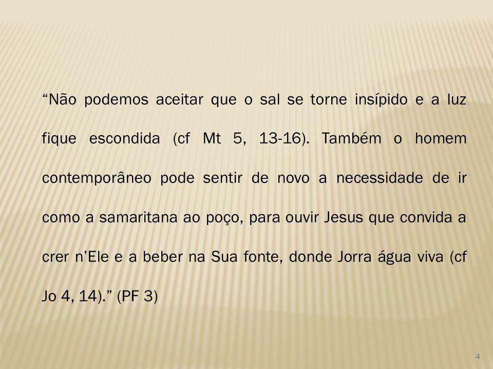 Não podemos aceitar que o sal se torne insípido e a luz fique escondida (cf Mt 5, 13-16).