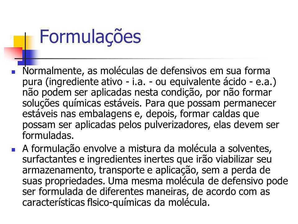 Formulações Normalmente, as moléculas de defensivos em sua forma pura (ingrediente ativo - i.a. - ou equivalente ácido - e.a.) não podem ser aplicadas