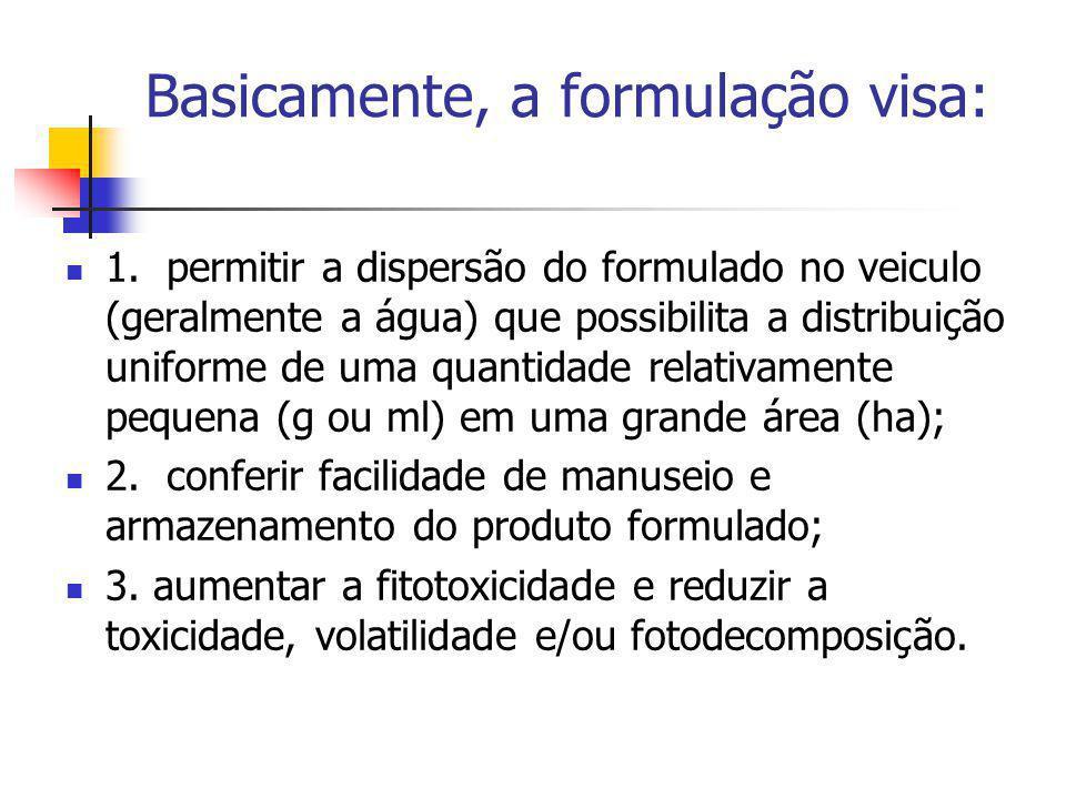 Basicamente, a formulação visa: 1. permitir a dispersão do formulado no veiculo (geralmente a água) que possibilita a distribuição uniforme de uma qua