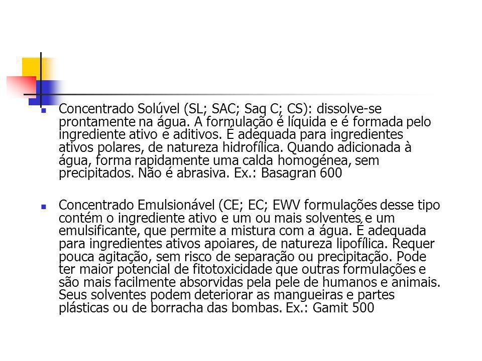 Concentrado Solúvel (SL; SAC; Saq C; CS): dissolve-se prontamente na água. A formulação é líquida e é formada pelo ingrediente ativo e aditivos. É ade