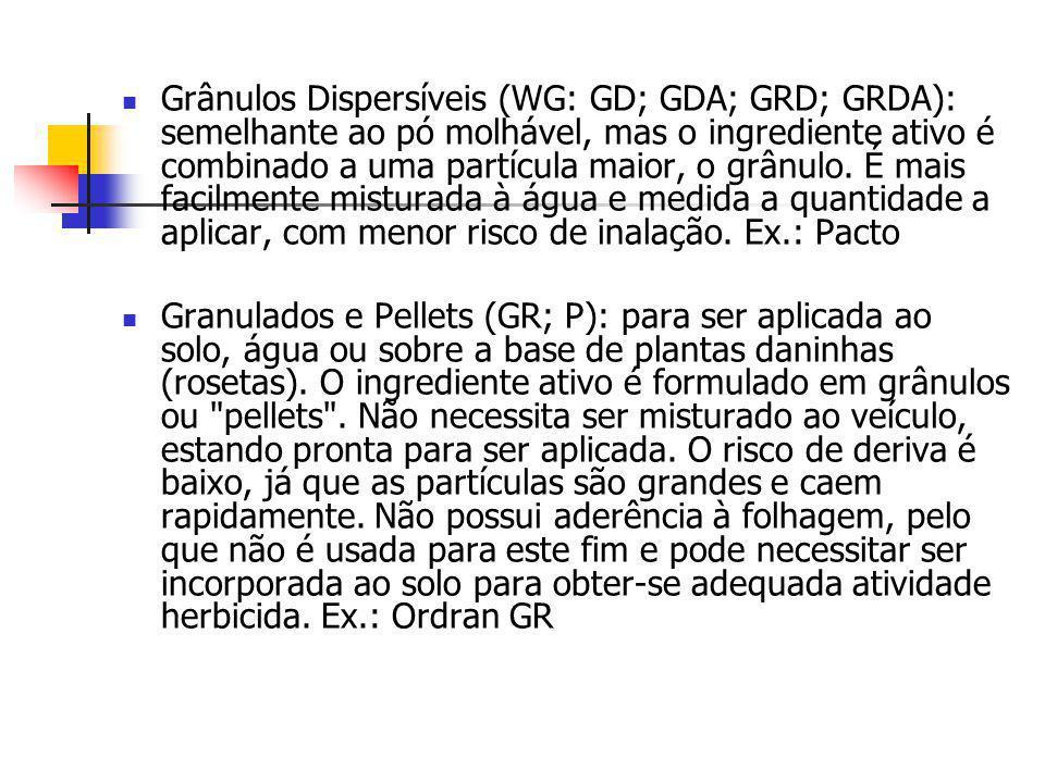 Grânulos Dispersíveis (WG: GD; GDA; GRD; GRDA): semelhante ao pó molhável, mas o ingrediente ativo é combinado a uma partícula maior, o grânulo. É mai