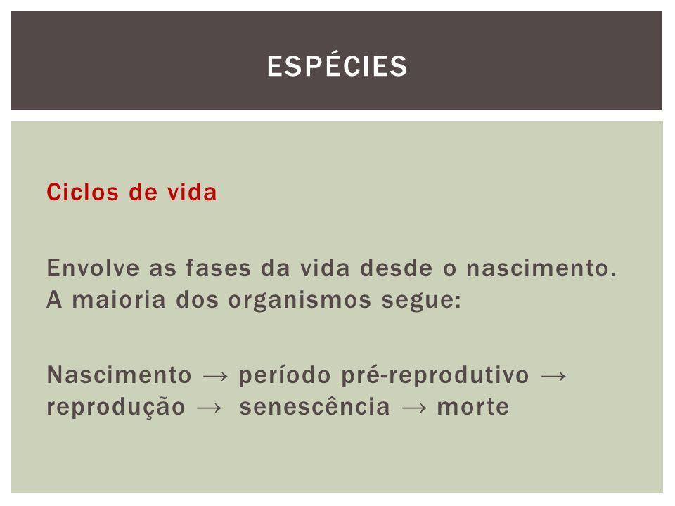 Ciclos de vida Envolve as fases da vida desde o nascimento. A maioria dos organismos segue: Nascimento período pré-reprodutivo reprodução senescência