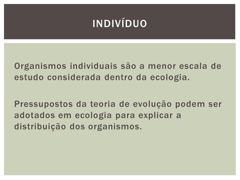 Organismos individuais são a menor escala de estudo considerada dentro da ecologia. Pressupostos da teoria de evolução podem ser adotados em ecologia