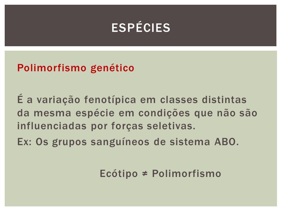 Polimorfismo genético É a variação fenotípica em classes distintas da mesma espécie em condições que não são influenciadas por forças seletivas. Ex: O