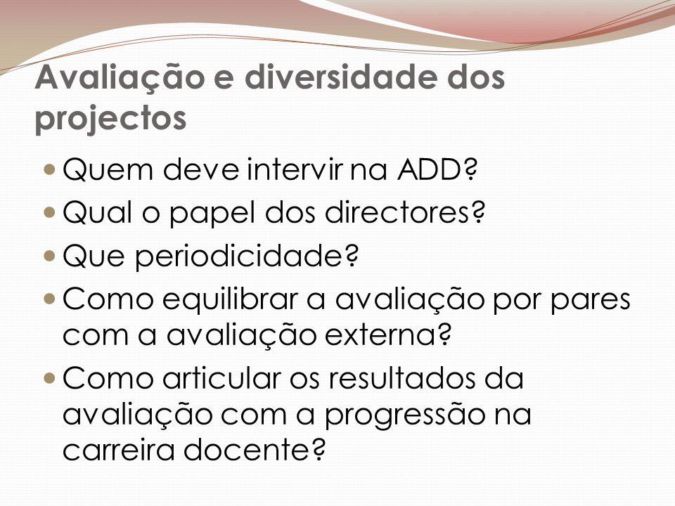 Avaliação e diversidade dos projectos Quem deve intervir na ADD.