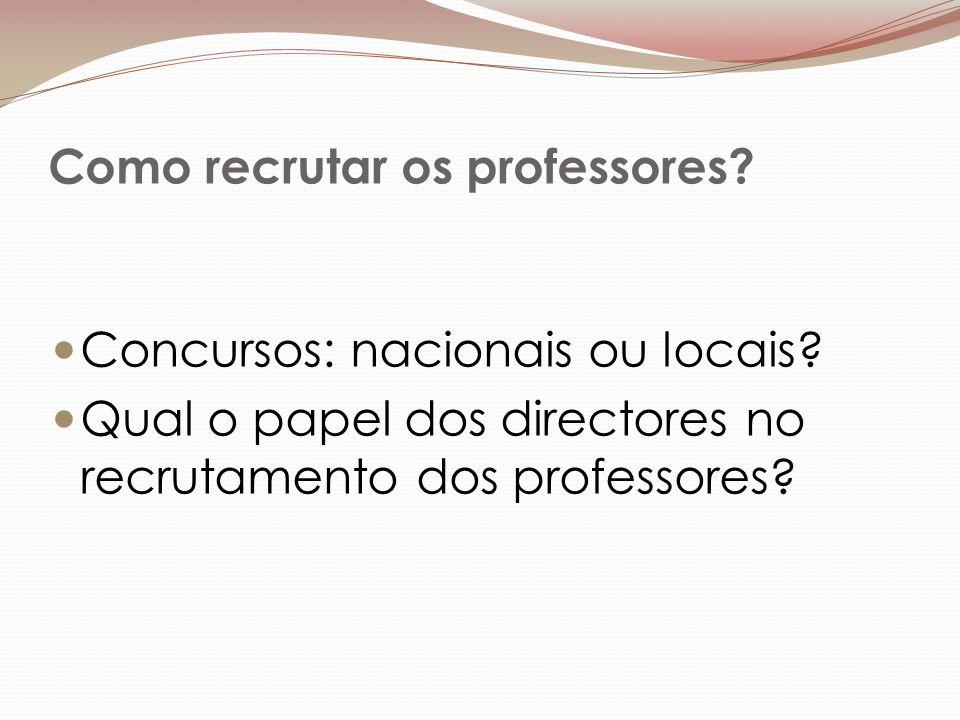 Como recrutar os professores. Concursos: nacionais ou locais.