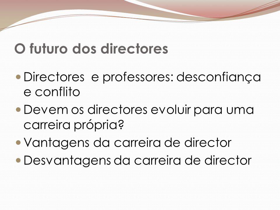 O futuro dos directores Directores e professores: desconfiança e conflito Devem os directores evoluir para uma carreira própria.