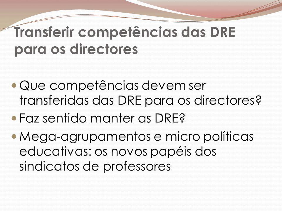 Transferir competências das DRE para os directores Que competências devem ser transferidas das DRE para os directores.