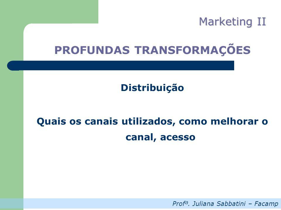 Profª. Juliana Sabbatini – Facamp Marketing II PROFUNDAS TRANSFORMAÇÕES Distribuição Quais os canais utilizados, como melhorar o canal, acesso