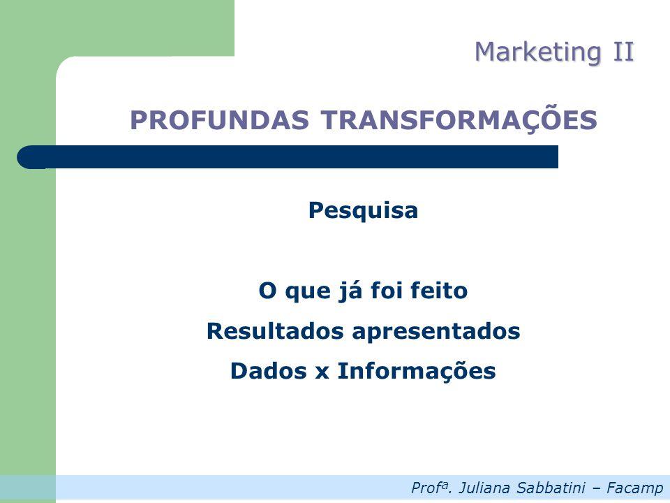 Profª. Juliana Sabbatini – Facamp Marketing II PROFUNDAS TRANSFORMAÇÕES Pesquisa O que já foi feito Resultados apresentados Dados x Informações