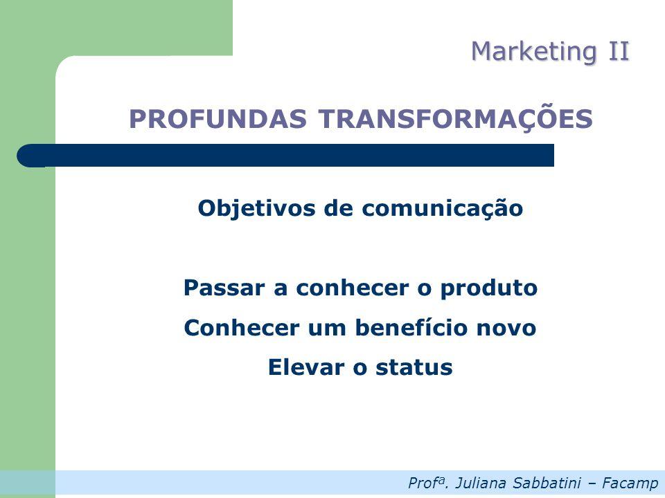 Profª. Juliana Sabbatini – Facamp Marketing II PROFUNDAS TRANSFORMAÇÕES Objetivos de comunicação Passar a conhecer o produto Conhecer um benefício nov