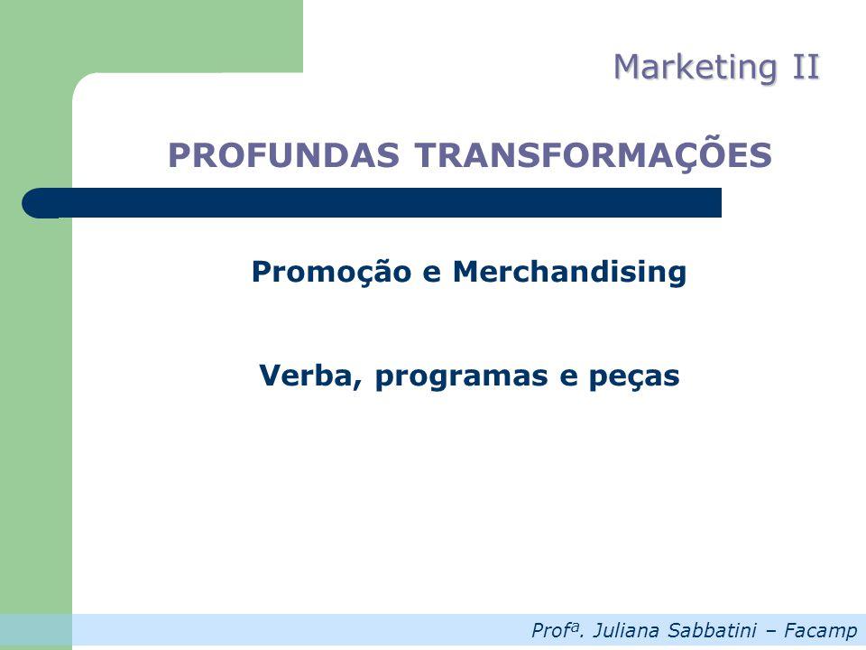 Profª. Juliana Sabbatini – Facamp Marketing II PROFUNDAS TRANSFORMAÇÕES Promoção e Merchandising Verba, programas e peças