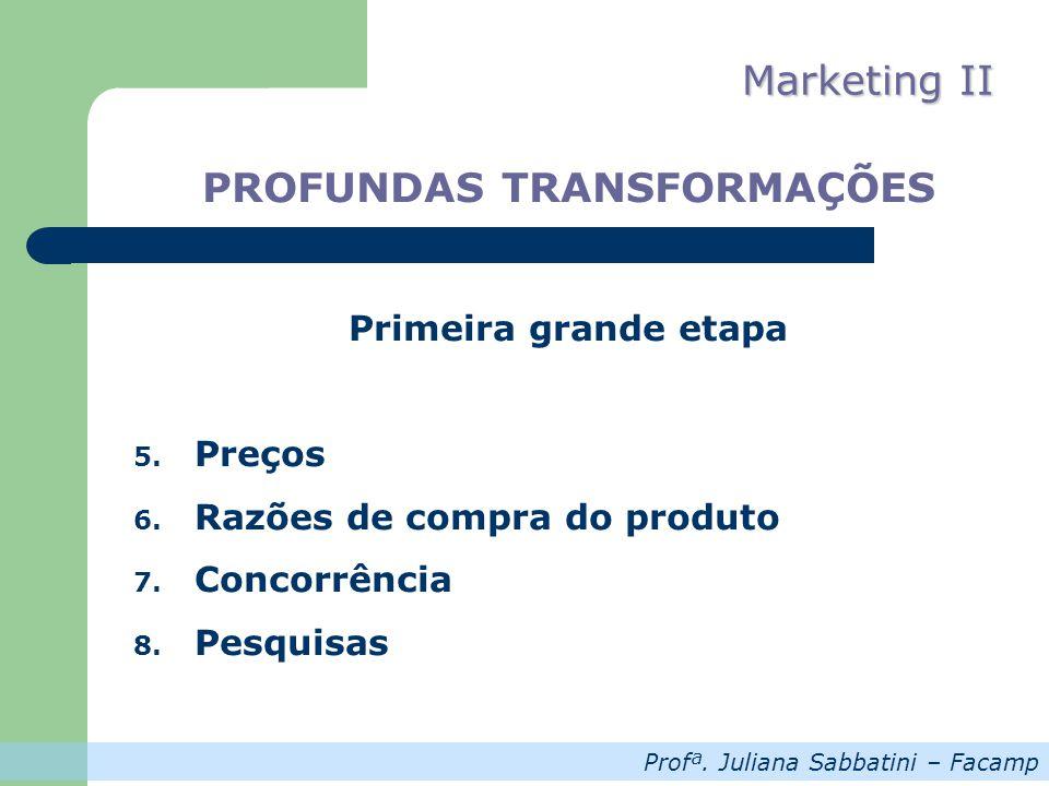 Profª. Juliana Sabbatini – Facamp Marketing II PROFUNDAS TRANSFORMAÇÕES Primeira grande etapa 5. Preços 6. Razões de compra do produto 7. Concorrência