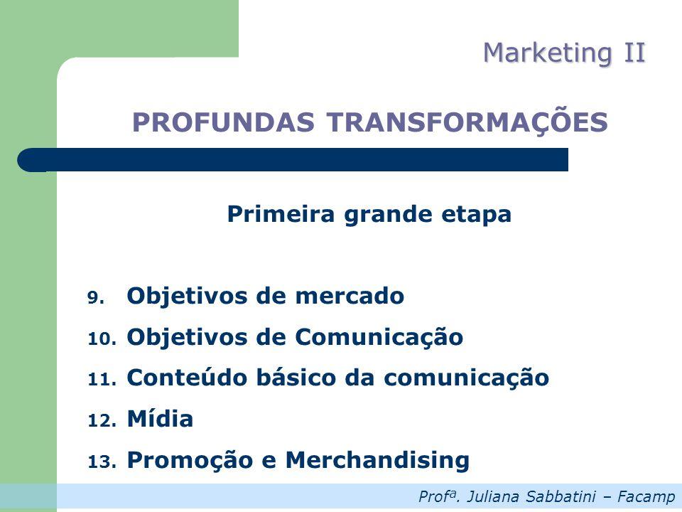 Profª. Juliana Sabbatini – Facamp Marketing II PROFUNDAS TRANSFORMAÇÕES Primeira grande etapa 9. Objetivos de mercado 10. Objetivos de Comunicação 11.