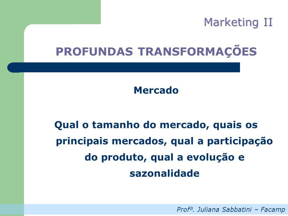 Profª. Juliana Sabbatini – Facamp Marketing II PROFUNDAS TRANSFORMAÇÕES Mercado Qual o tamanho do mercado, quais os principais mercados, qual a partic