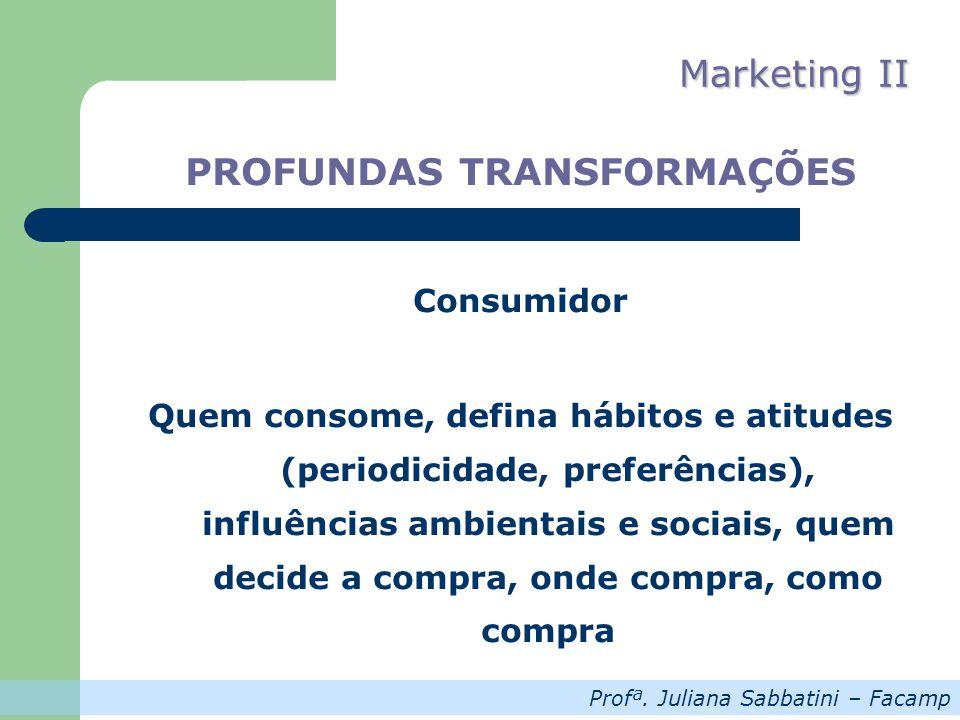Profª. Juliana Sabbatini – Facamp Marketing II PROFUNDAS TRANSFORMAÇÕES Consumidor Quem consome, defina hábitos e atitudes (periodicidade, preferência