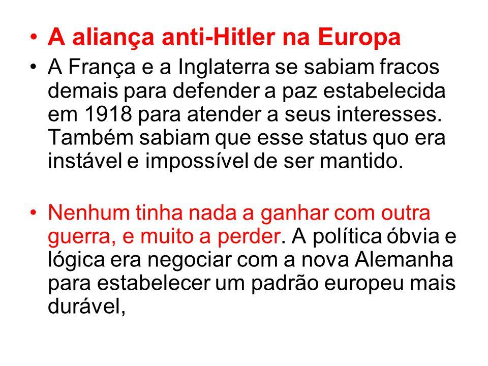 A aliança anti-Hitler na Europa A França e a Inglaterra se sabiam fracos demais para defender a paz estabelecida em 1918 para atender a seus interesses.