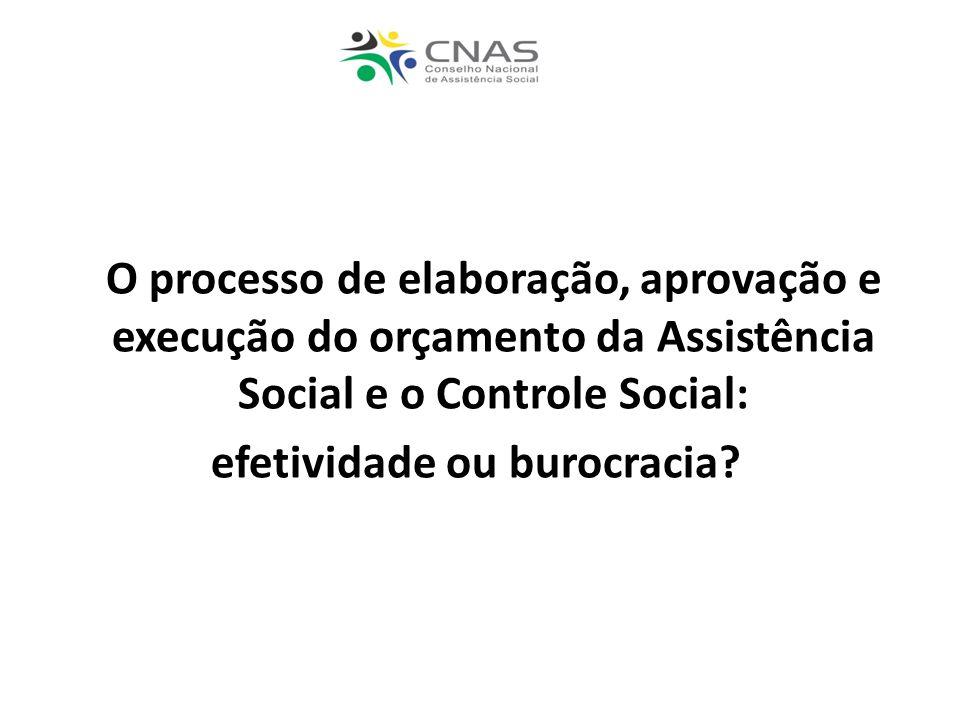 O processo de elaboração, aprovação e execução do orçamento da Assistência Social e o Controle Social: efetividade ou burocracia?