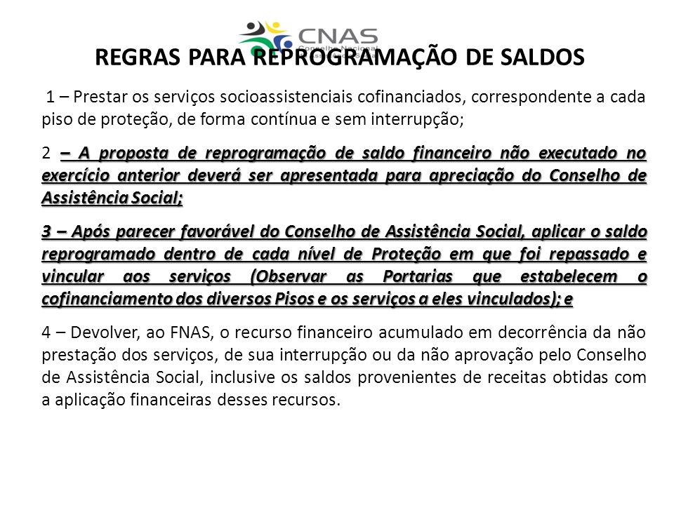 REGRAS PARA REPROGRAMAÇÃO DE SALDOS 1 – Prestar os serviços socioassistenciais cofinanciados, correspondente a cada piso de proteção, de forma contínu