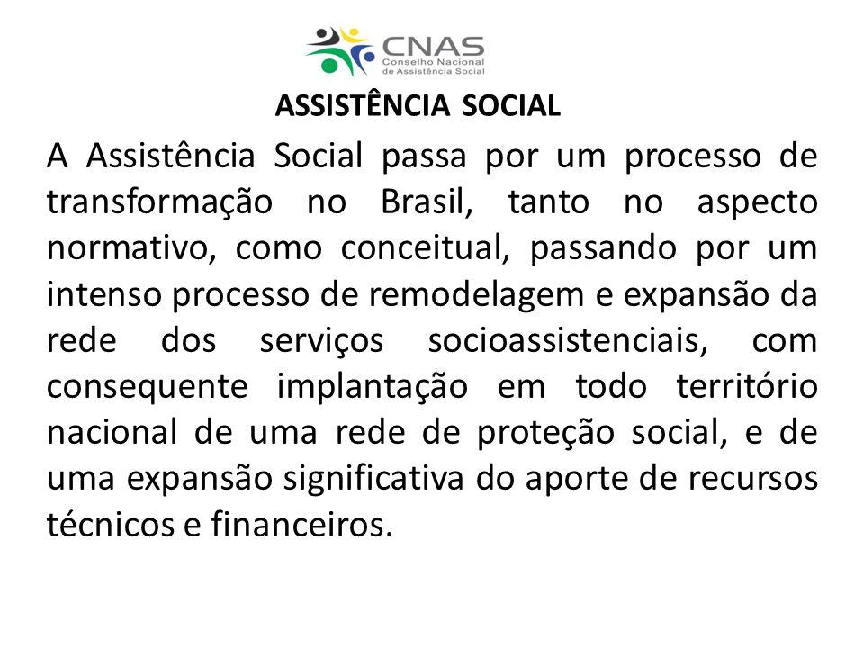 ASSISTÊNCIA SOCIAL A Assistência Social passa por um processo de transformação no Brasil, tanto no aspecto normativo, como conceitual, passando por um