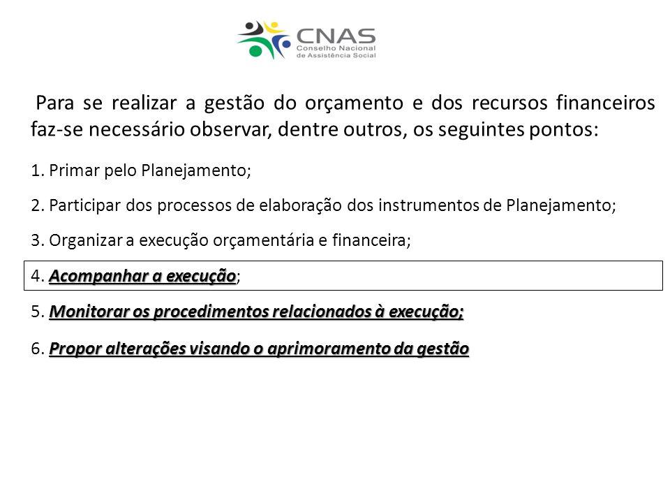 Para se realizar a gestão do orçamento e dos recursos financeiros faz-se necessário observar, dentre outros, os seguintes pontos: 1. Primar pelo Plane