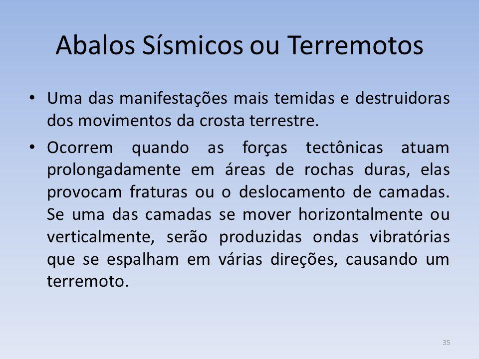 35 Abalos Sísmicos ou Terremotos Uma das manifestações mais temidas e destruidoras dos movimentos da crosta terrestre.