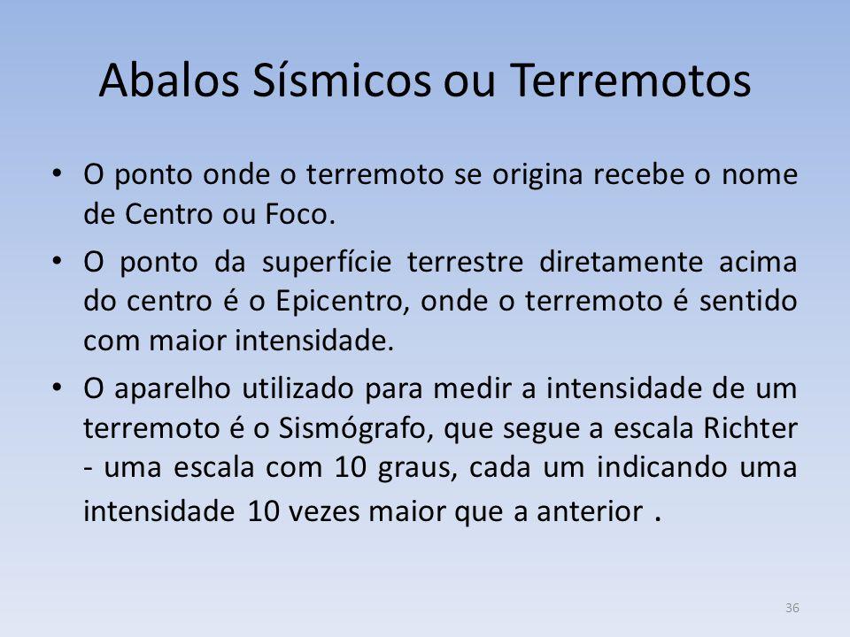 36 Abalos Sísmicos ou Terremotos O ponto onde o terremoto se origina recebe o nome de Centro ou Foco.