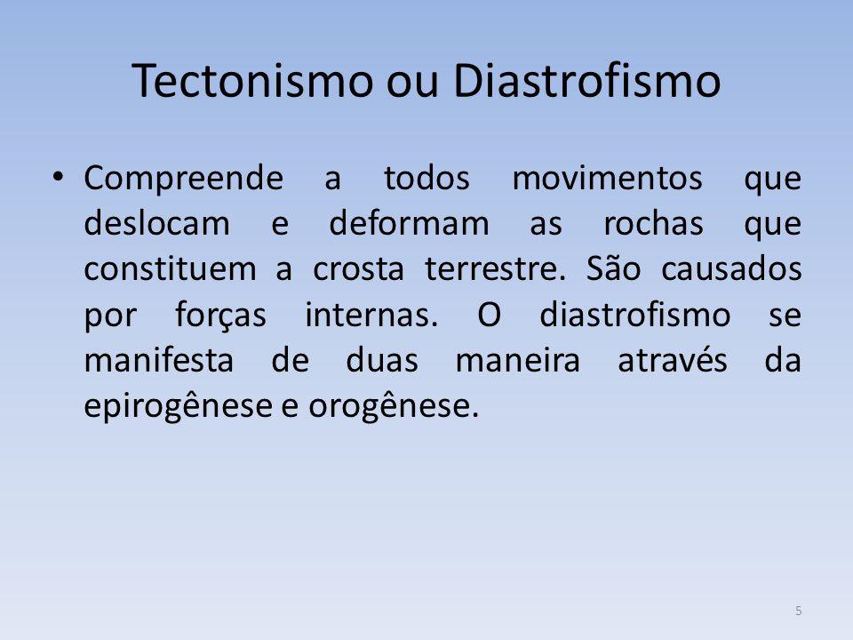 5 Tectonismo ou Diastrofismo Compreende a todos movimentos que deslocam e deformam as rochas que constituem a crosta terrestre.