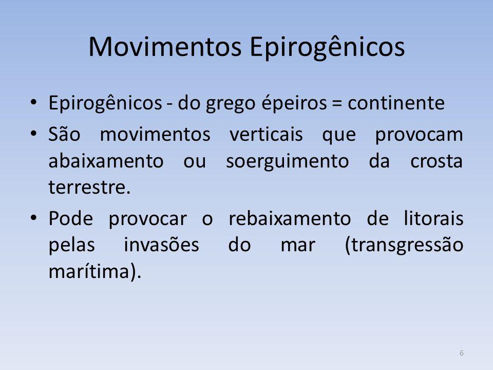 6 Movimentos Epirogênicos Epirogênicos - do grego épeiros = continente São movimentos verticais que provocam abaixamento ou soerguimento da crosta terrestre.