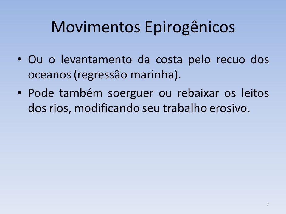 7 Movimentos Epirogênicos Ou o levantamento da costa pelo recuo dos oceanos (regressão marinha).