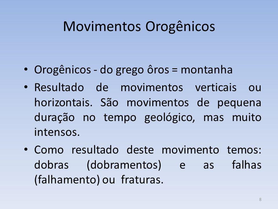 8 Movimentos Orogênicos Orogênicos - do grego ôros = montanha Resultado de movimentos verticais ou horizontais.
